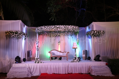 Wedding reception stage decor for lawn