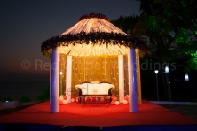 Beach wedding reception stage
