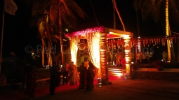 Beach destination hindu wedding stage deoor